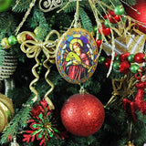 Oval Stained Glass Angel Ornament