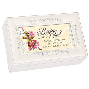 Ivory and Rose Baptism Music Box