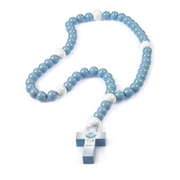 Blue Baptism Wooden Children's Rosary