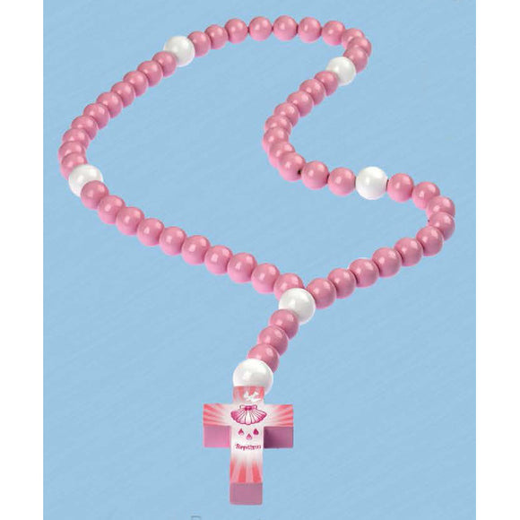 Pink Baptism Wooden Children's Rosary