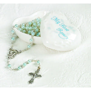 Blue Porcelain Heart My First Rosary