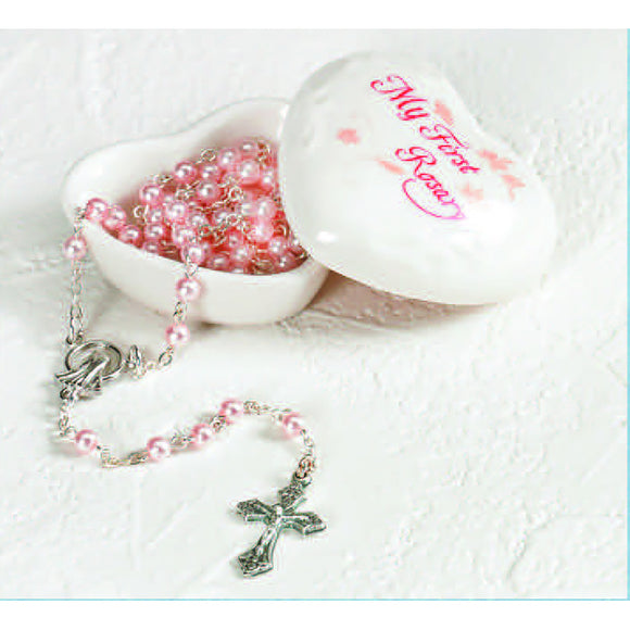 Pink Porcelain Heart My First Rosary