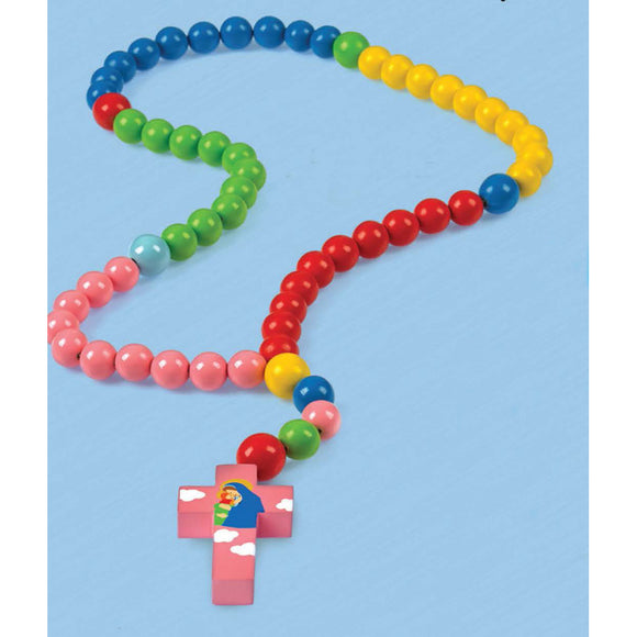 Mary with Jesus Pink Cross Multicolor Baby Rosary