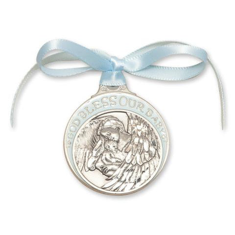 Blue Pewter Guardian Angel Crib Medal