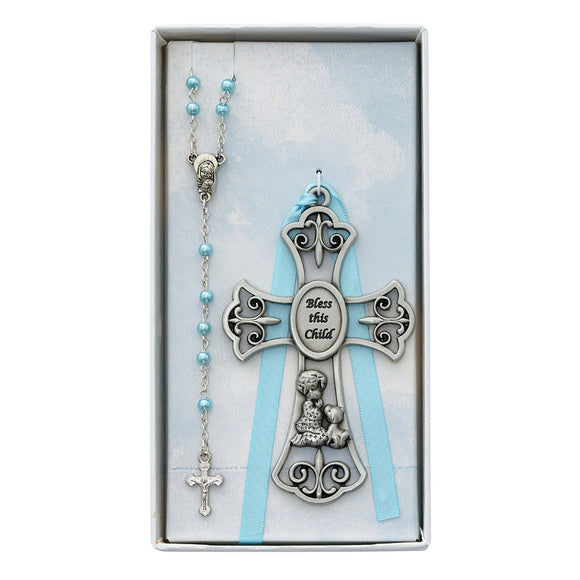 Bless the Child Blue Rosary and Cross Set
