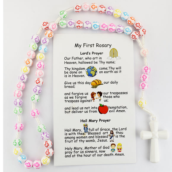 Kid's Multicolored Cross Rosary