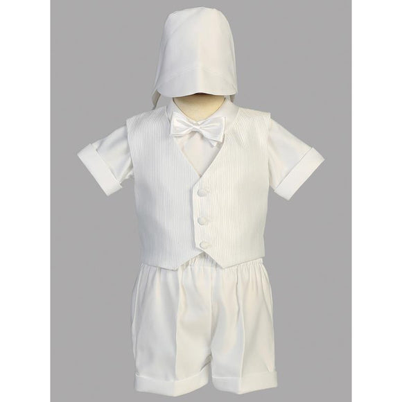Boy's Baptism Vest and Satin Short Set