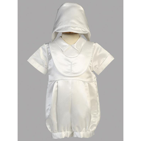 Boy's Baptism Satin Romper with Embroidered Cross