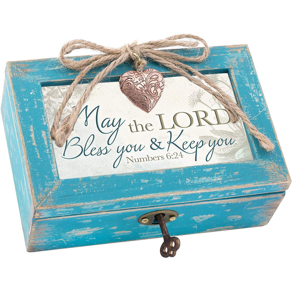 May the Lord Bless You & Keep You Blue Distressed Music Box