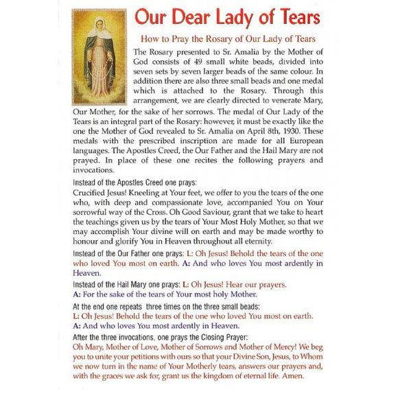 Our Lady of Tears Pamphlet