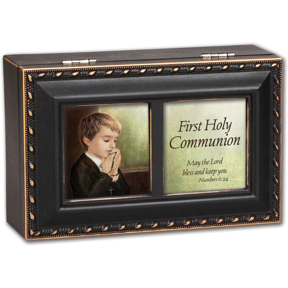 Distressed Black First Communion Music Box