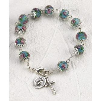 Blue Rose Crystal Rosary Bracelet