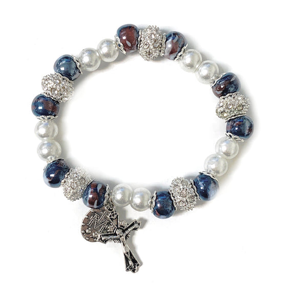 Blue & Pearl Bead Stretch Bracelet