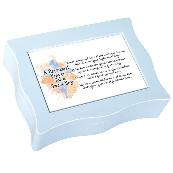 Blue Wavy Baptism Music Box