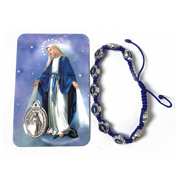 Blue Enamel Miraculous Medal Bracelet with Card