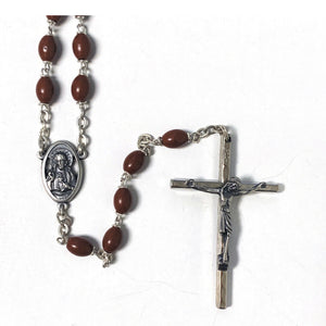 Brown Plastic Oval Bead Rosary