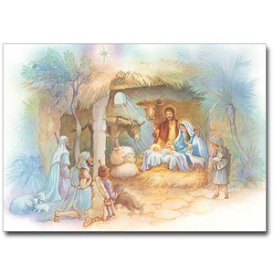 Nativity Scene with Shepherds Christmas Cards