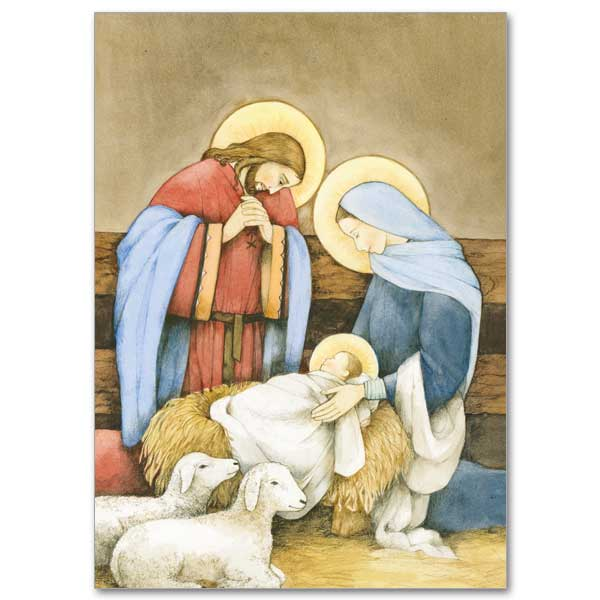 Holy Family in Stable with Lambs Christmas Cards – The ...