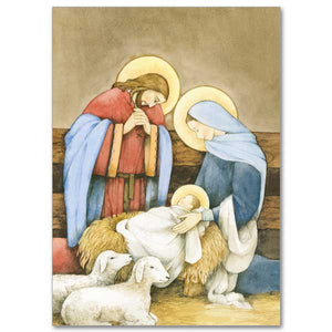 Holy Family in Stable with Lambs Christmas Cards