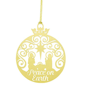 Peace on Earth Brass Nativity Ornament