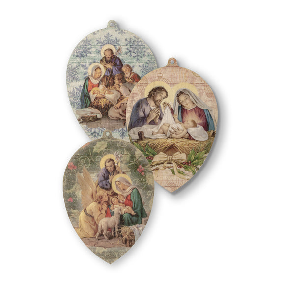 Wooden Nativity Scene Ornaments - Set of 3