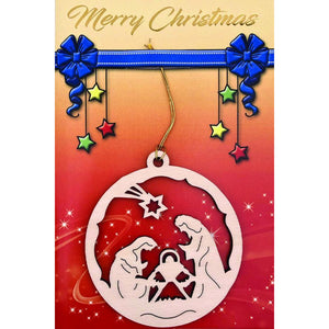 Merry Christmas Card with Wooden Ornament