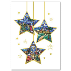 Three Star Ornaments Christmas Cards