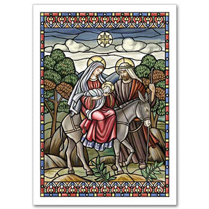 Flight into Egypt Stained Glass Christmas Cards
