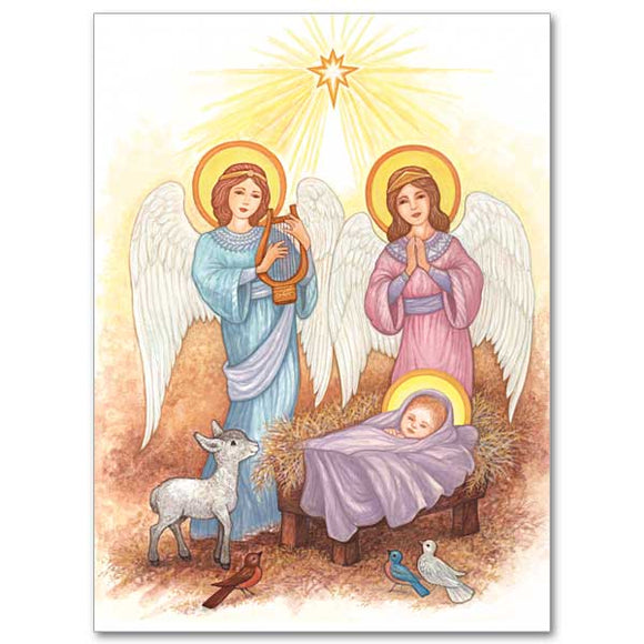 Angels at the Manger Christmas Cards