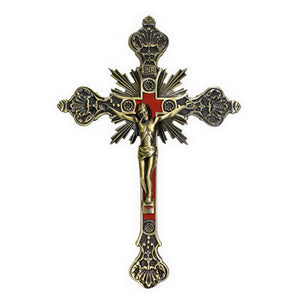 "8"" Bronze Metal Crucifix"