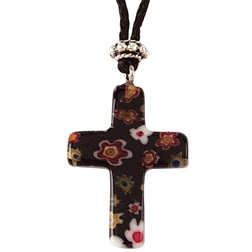Black Murano Cross Glass Pendant