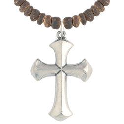 Brown Wood Bead Cross Necklace