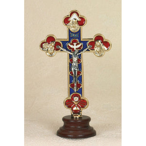 Golden Enameled Standing Crucifix