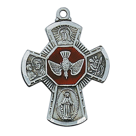 Large Silver 4-Way with Enameled Holy Spirit