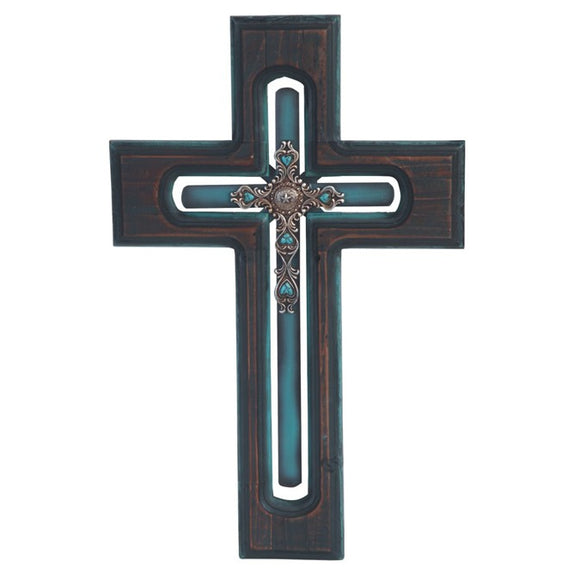 Blue Rustic Wall Cross