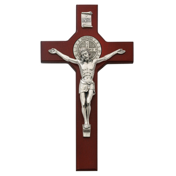 Cherry Wood Saint Benedict Crucifix