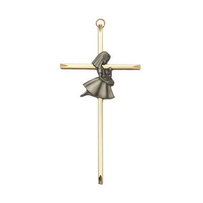 First Communion Praying Girl Cross