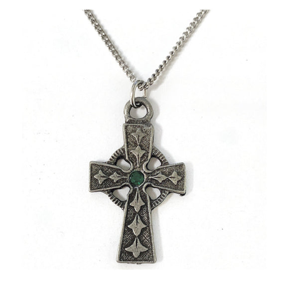 Pewter Celtic Cross with Green Crystal Necklace