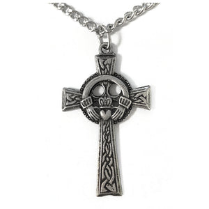Large Pewter Claddagh Cross Necklace