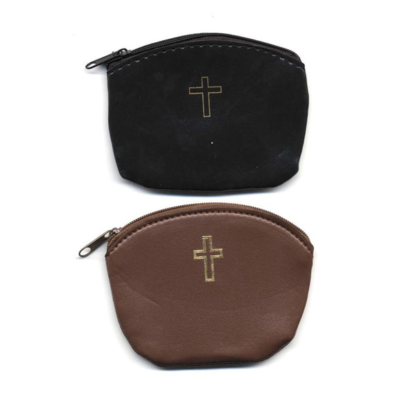 Zippered Rosary Pouch with Cross