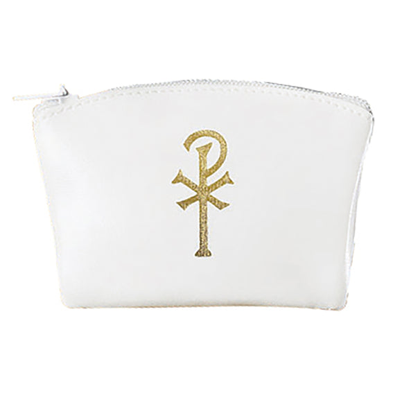 White Vinyl Zippered Rosary Case