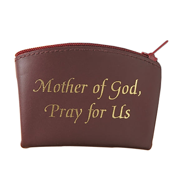 Burgundy Mother of God Pray for Us Zippered Rosary Case