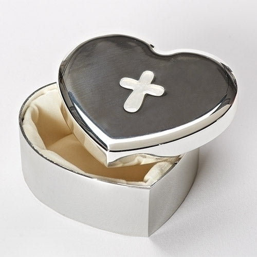 Silver Heart Box with Cross