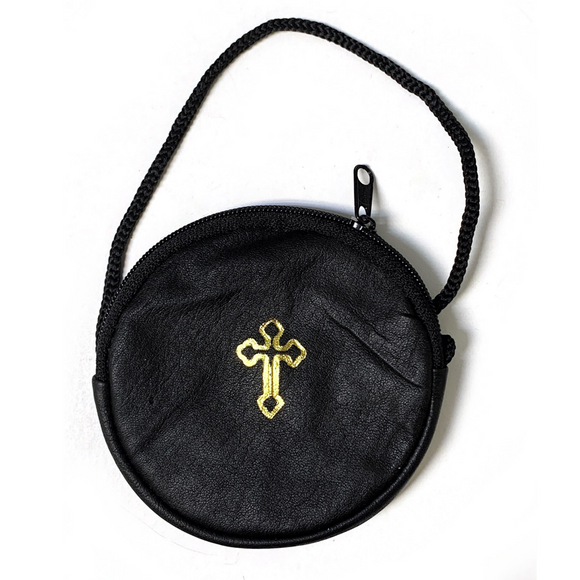 Round Black Leather Zippered Rosary Pouch