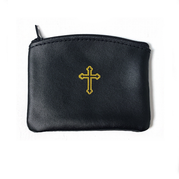 Black Leather Rosary Pouch