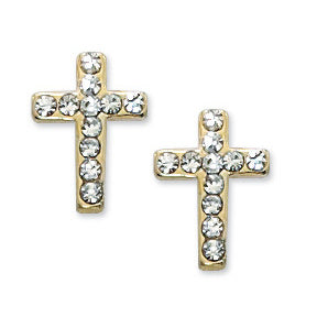 Gold Crystal Cross Earrings