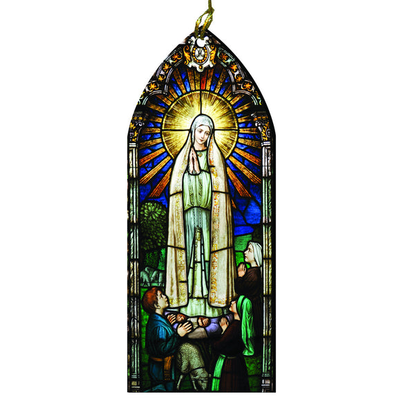 Our Lady of Fatima Stained Glass Ornament