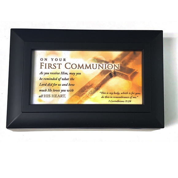 Black First Communion Music Box