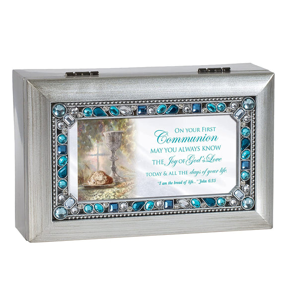 Silver & Blue Jeweled First Communion Music Box