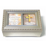Champagne Silver First Communion Music Box